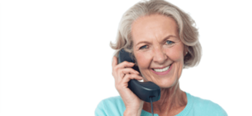 Senior woman with phone calling