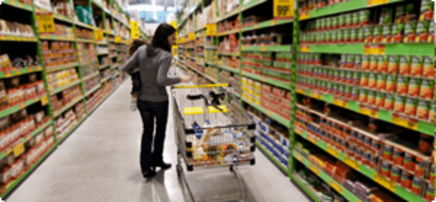 A women is shopping at a grocery store