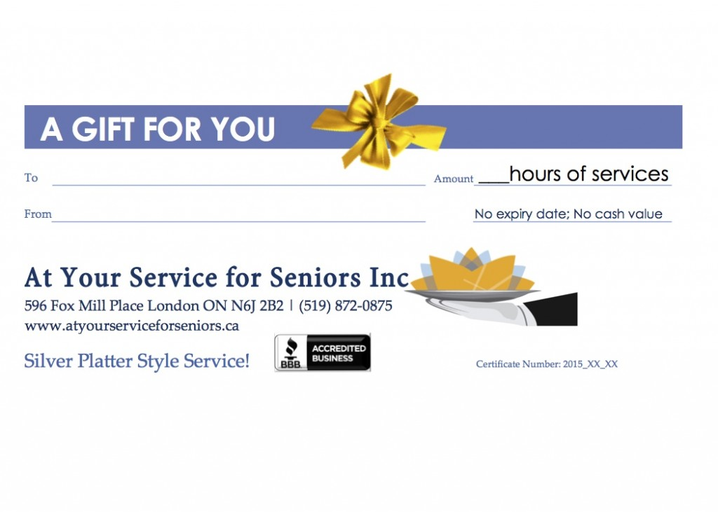 A Gift for You gift certificateGeneric2015